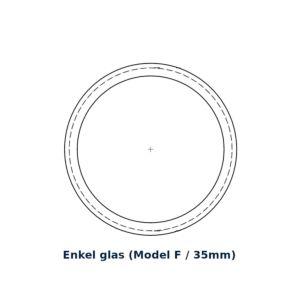 Glasring Multiplex F rond 25cm enkel glas