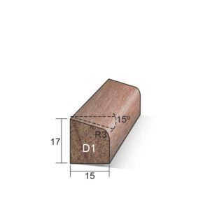 Glaslat D1 schuin 17x15x4900mm Meranti gegrond