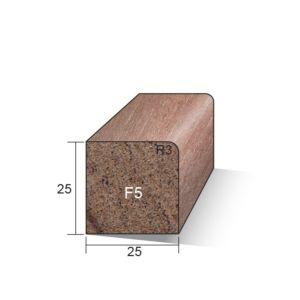 Glaslat F5 recht 25x25x4900mm Meranti gegrond