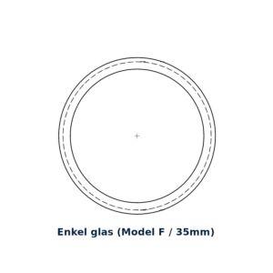 Glasring Multiplex F rond 30cm enkel glas