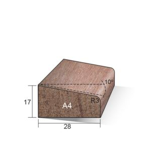 Glaslat A4 schuin 17x28x4000mm Meranti gegrond