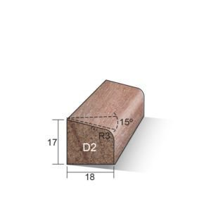 Glaslat D2 (schuin) Meranti gegrond 17x18x4750mm