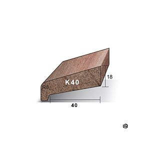 Neuslat K40 18x54x4900mm Meranti gegrond (Sponning 40mm)